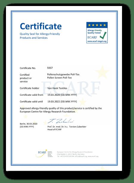 Poll-tex普特絲防霾紗窗是台灣唯一榮獲歐盟ECARF認證,有效減少過敏問題